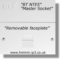 NTE5 BT Master Socket - Remove lower faceplate to reveal